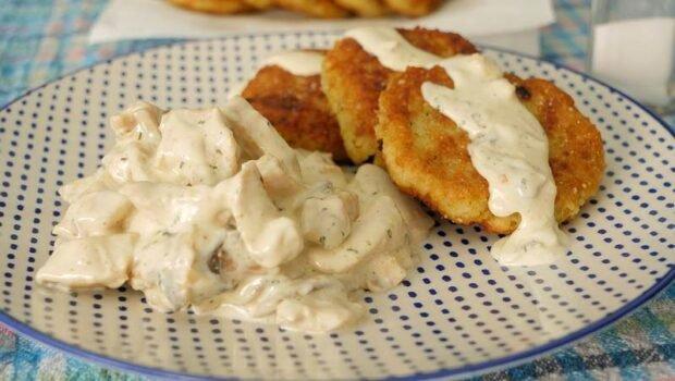 piletina u krem sos sa sampinjonima i polpete od pirinca